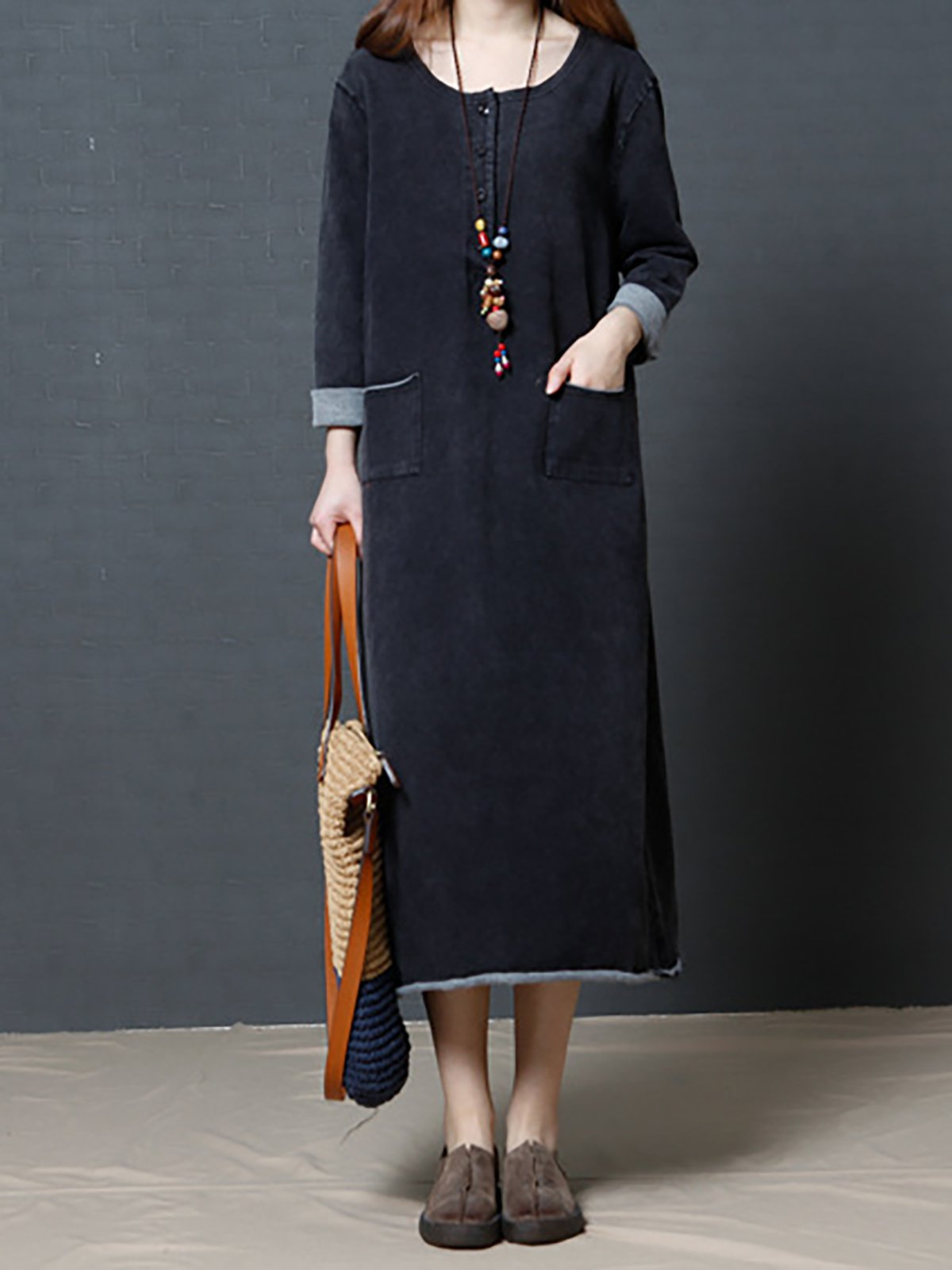 Black-Grey Statement Shift Solid Casual Dress