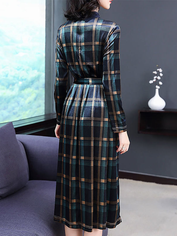 Vintage Green A-Line Daily Checkered Midi Dress