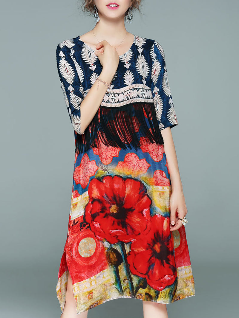 Crew Neck Printed Casual Half Sleeve Polyester Midi Dress