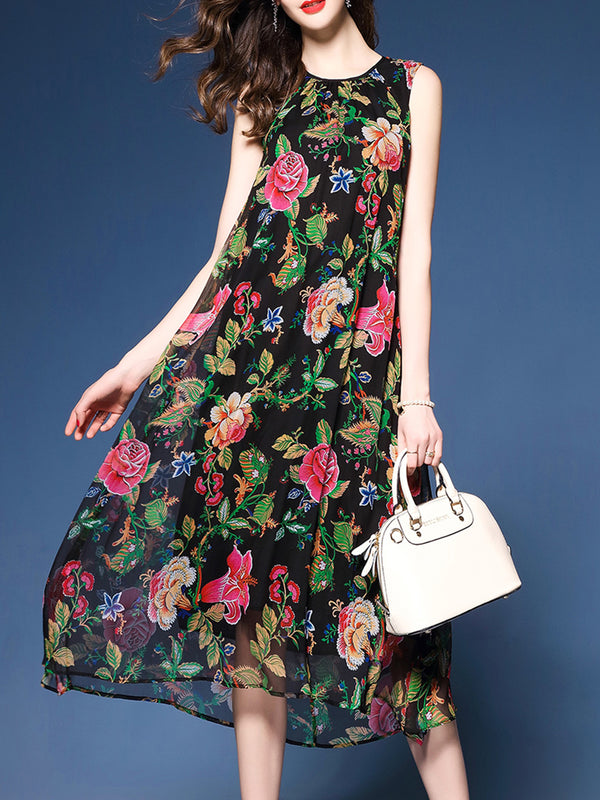 Crew Neck A-line Sleeveless Chiffon Dress