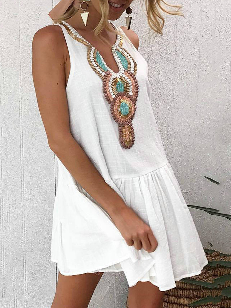 Casual Embroidered Tribal Flounce Dress