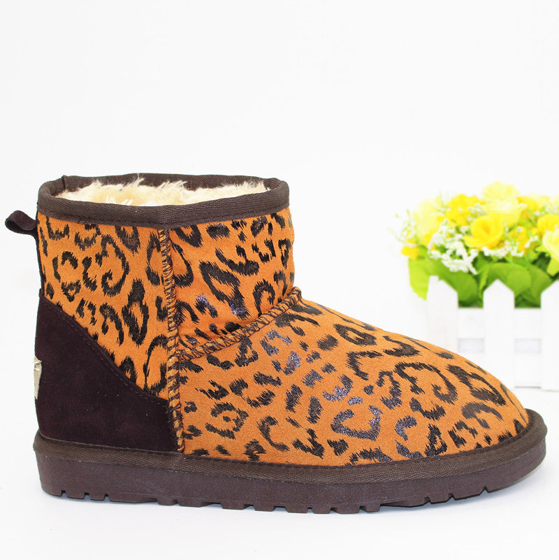 Casual Printed Winter Flat Heel Women Slip-On Snow Boots