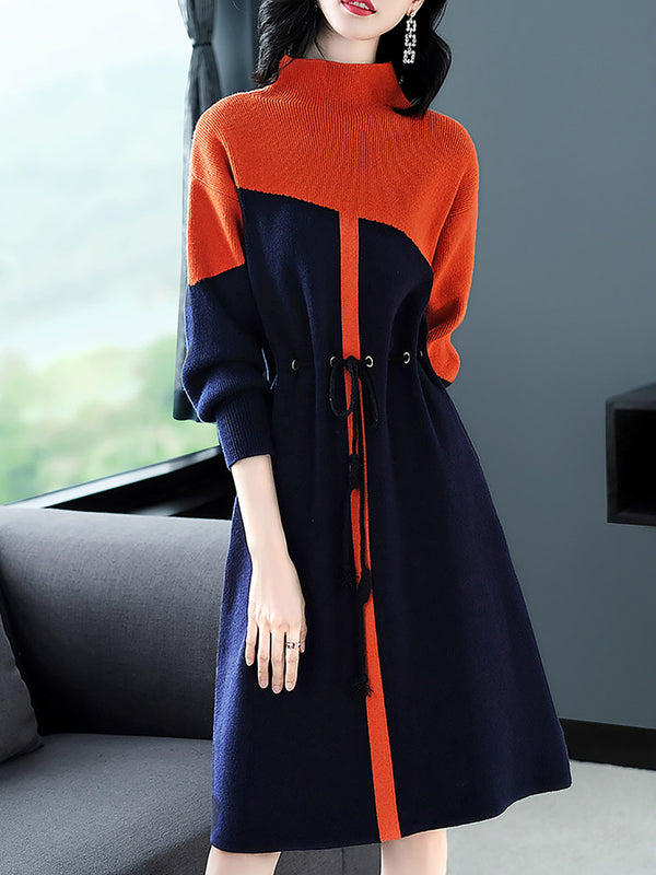Turtleneck Color-Block Long Sleeve Solid Sweater Dress