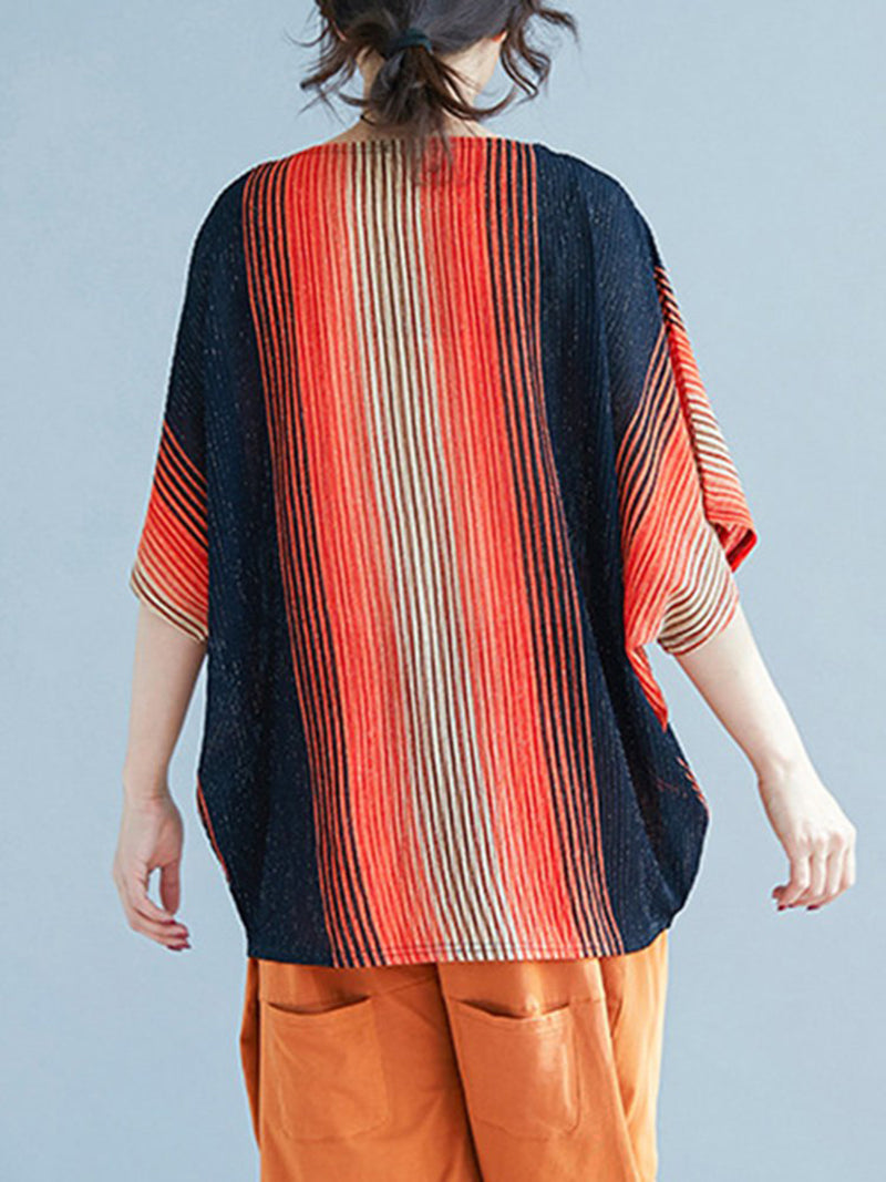 Color-block Batwing Striped Blouses