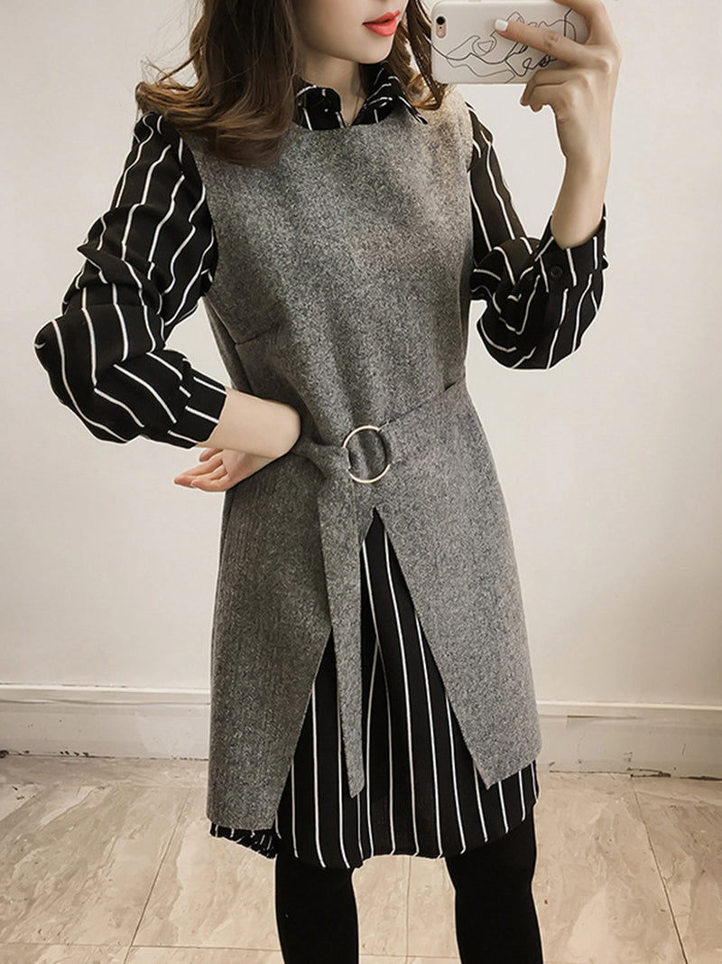 Long Sleeve Shirt Collar Two Pieces Dress
