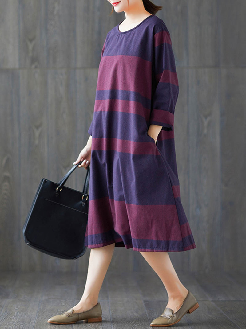 Navy Blue Casual Cotton Pockets Shift Dress