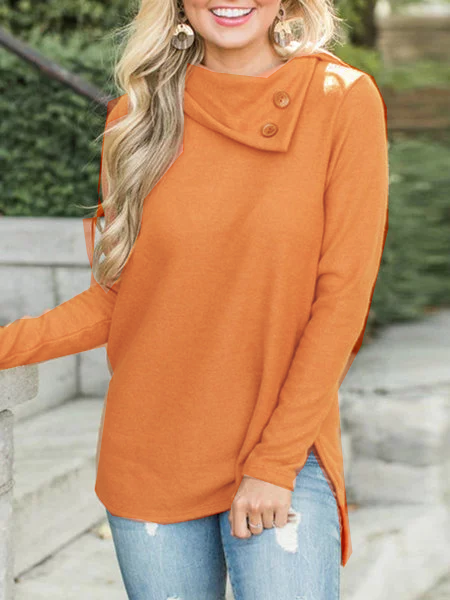 Buttoned Collar Long Sleeve Casual Blouse