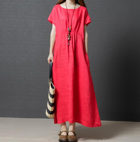 Solid Pockets Short Sleeve Linen Dress
