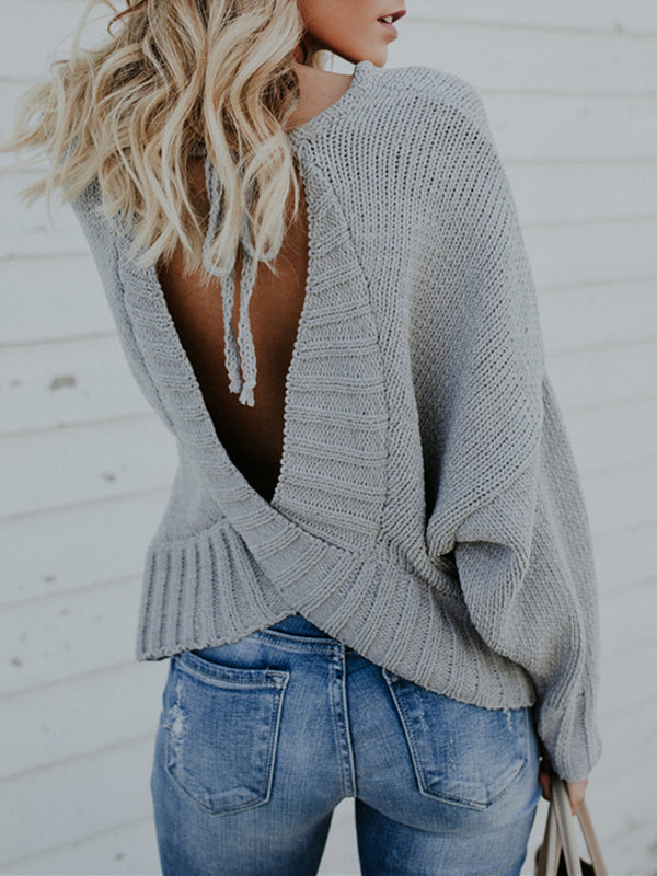 Sexy Casual Bow Backless Knitted Sweater