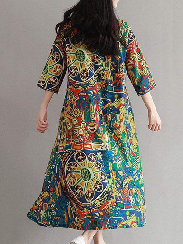 A-line 3/4 Sleeve Casual Printed Dress