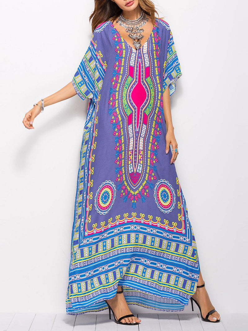 Printed Slit A-line Short Sleeve V Neck Maxi Dress