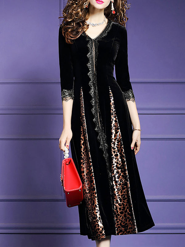 Leopard Print V Neck Black Appliqued Party Elegant Velvet Midi Dress