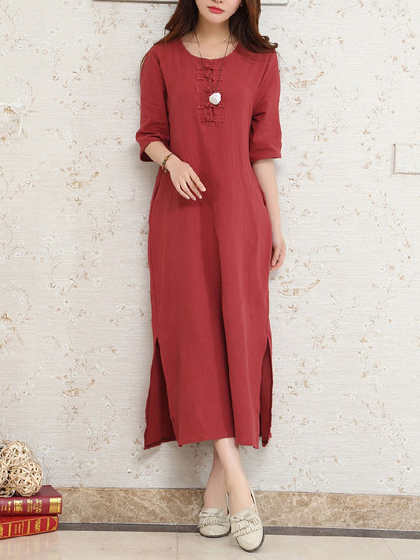 Slit Pockets A-line Buttoned Solid Linen Midi Dress