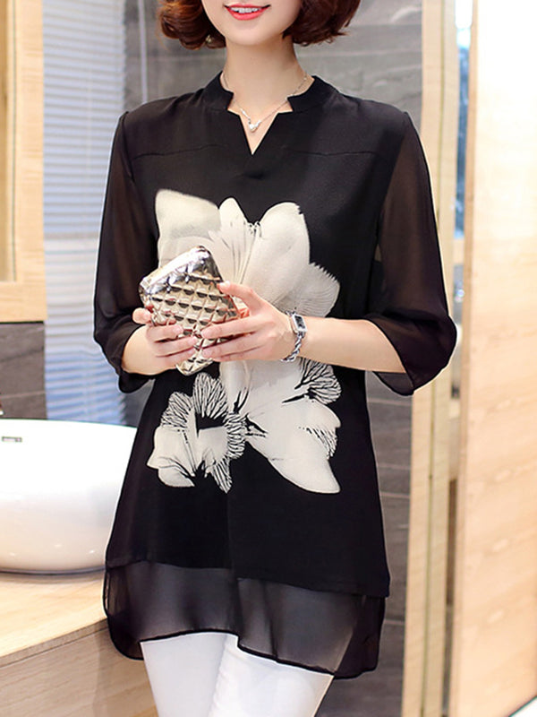 Chiffon Half Sleeve V Neck Casual Plus Size Blouse
