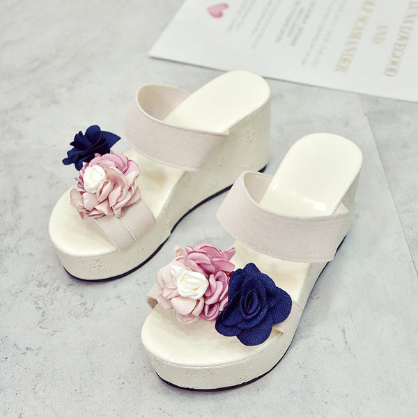 Women PU Wedge Slippers Casual Comfort Flower Shoes
