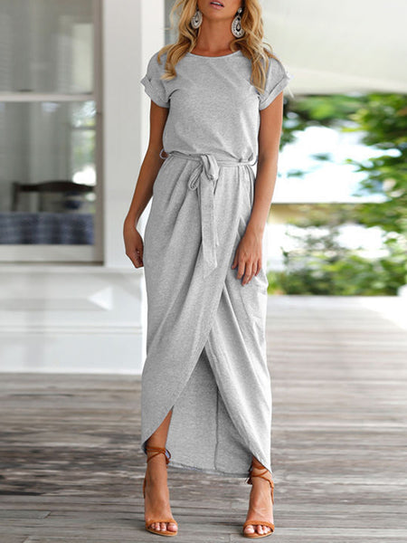Belt Slit Casual Solid Tiered Crew Neck Midi Dress