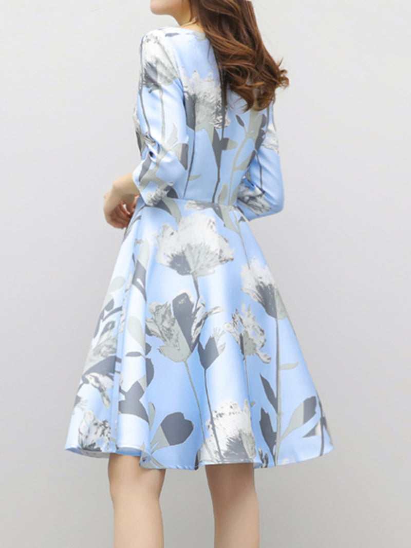 Elegant Crew Neck 3/4 Sleeve A-line Floral Printed Dress