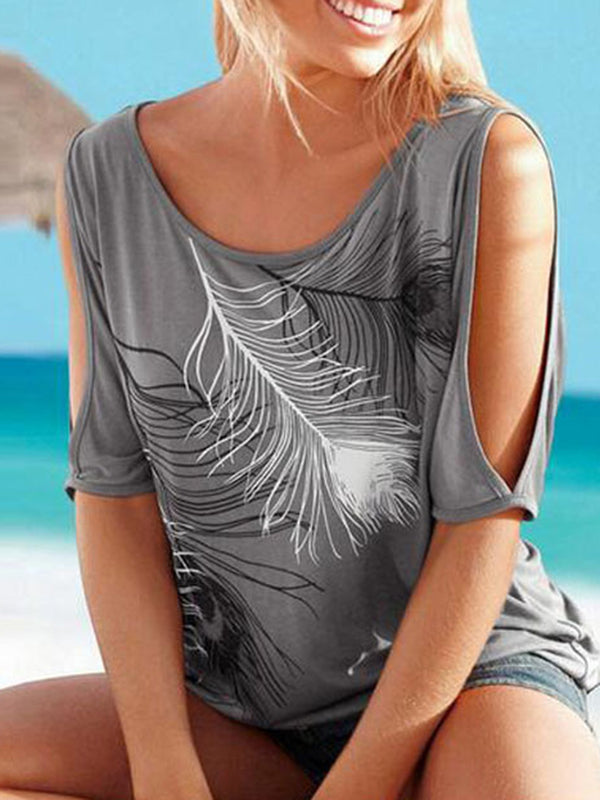 Cold Shoulder Casual Feather Printed Plus Size T-Shirt