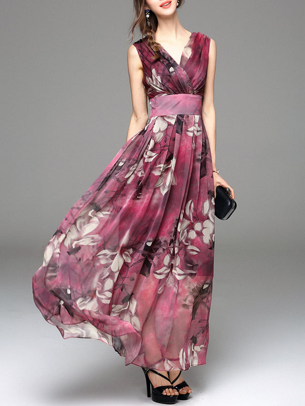 V neck Swing Beach Sleeveless Resort Floral Maxi Dress
