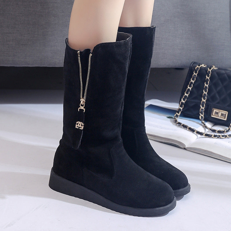 Slip-On Suede Women Zipper Mid-Calf Boots