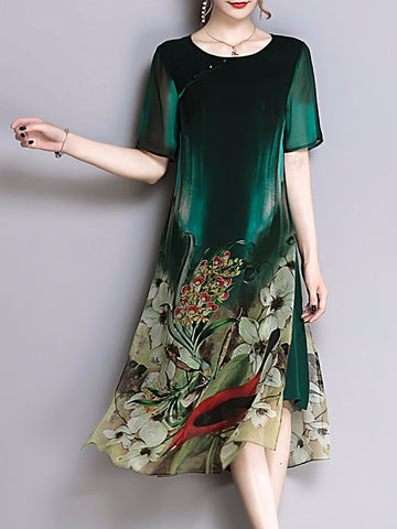 Green Elegant Shift Midi Dress