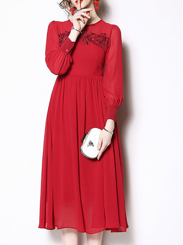 Red Swing Floral Long Sleeve Chiffon Buttoned Midi Dress