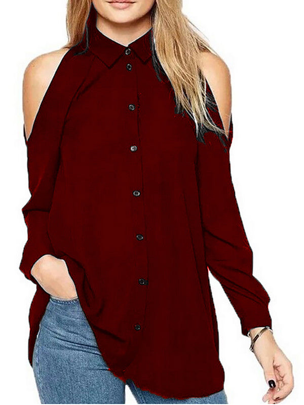 Cold Shoulder Long Sleeve Basic Blouses & Shirt