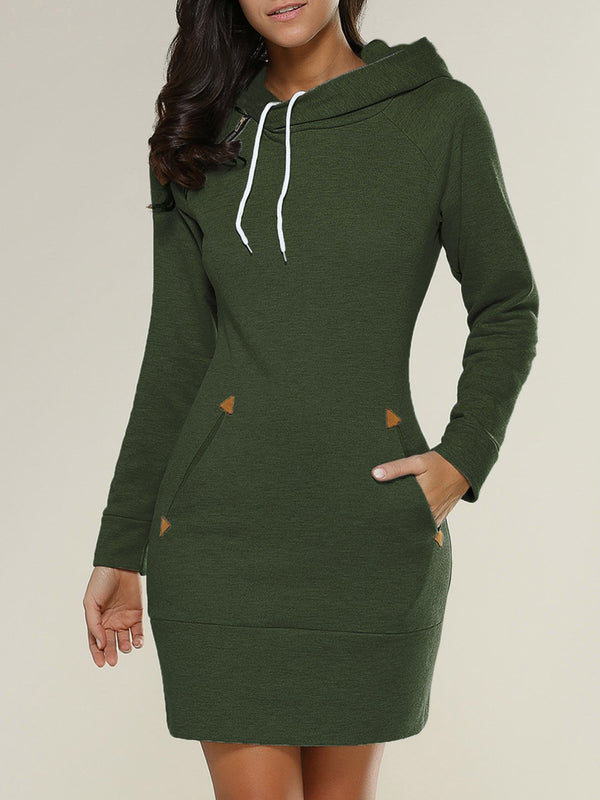 Long Sleeve Casual Pockets Hoodie Dress