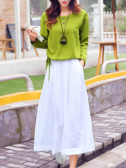 Pockets Linen Two Piece Casual Dress