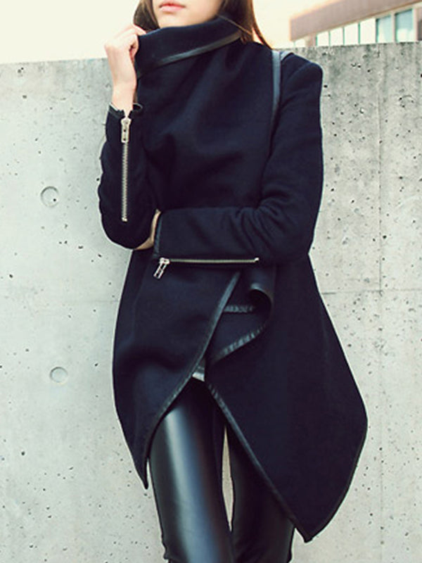 Solid Patchwork Long Sleeve Wrap Coat