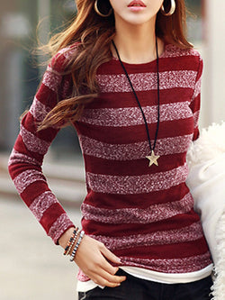 Stripes Crew Neck Casual Long Sleeve T-Shirt