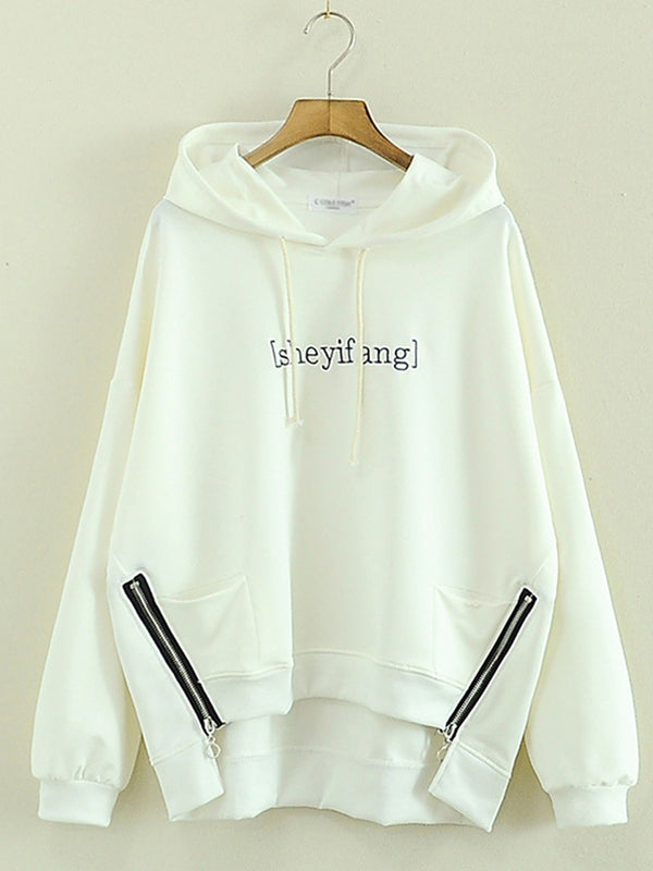 Casual Long Sleeve High Low Zipper Hoodie