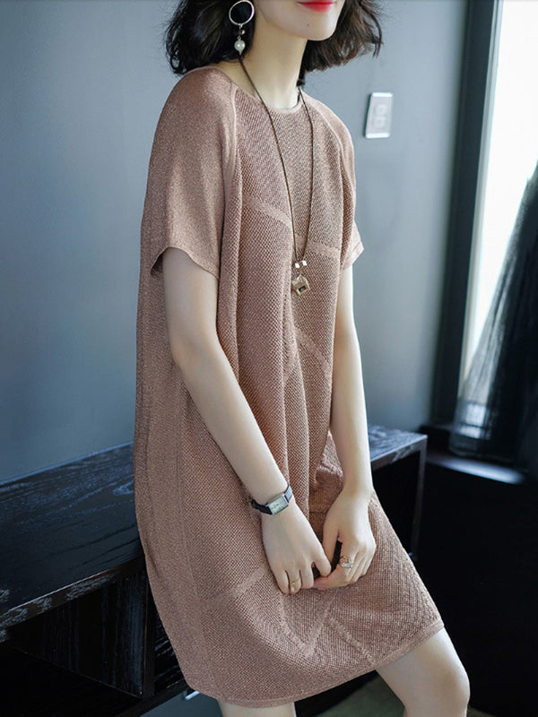 A-line Crew Neck Elegant Short Sleeve Dress