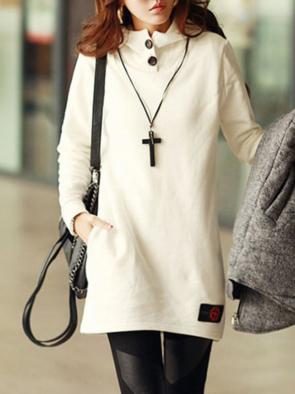 Plain Buttoned Long Sleeve Hoodie