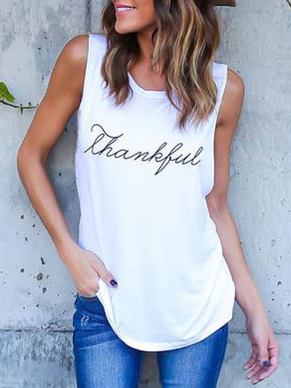 Crew Neck Sleeveless Letter Printed Plus Size T-Shirt