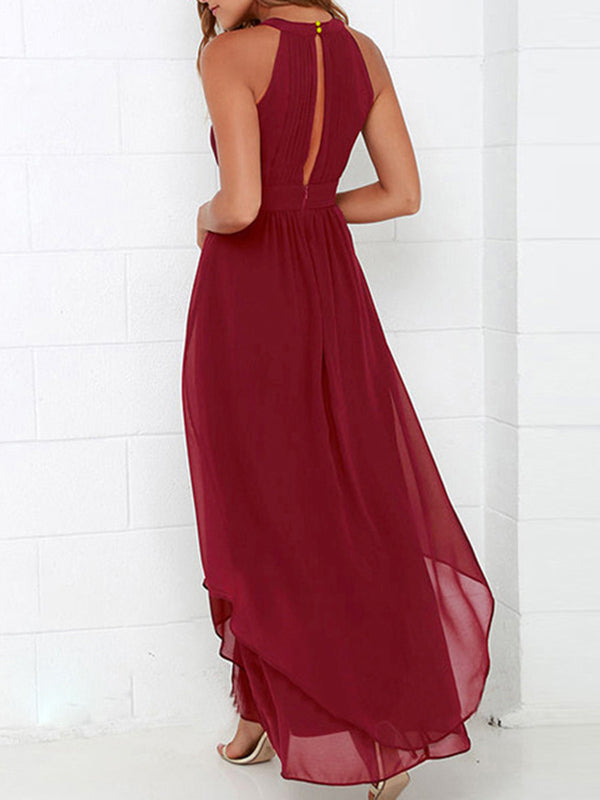 Sexy Sleeveless Asymmetric Gathered Dress