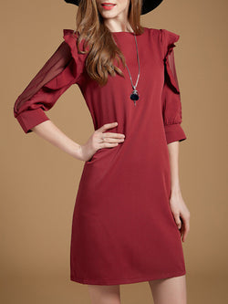 Elegant A-line Solid  Half Sleeve Ruffled Dress