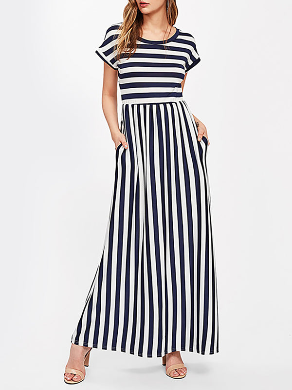 Casual Striped Short Sleeve Crew Neck Dress