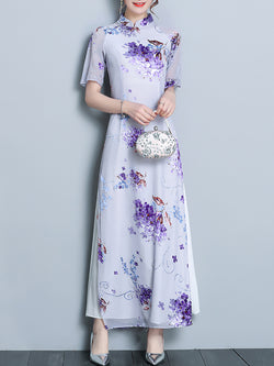 Purple Printed Elegant Chiffon Shift Midi Dress