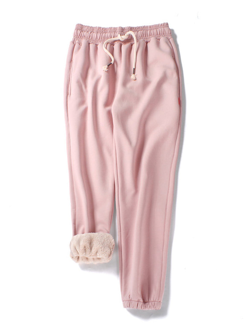 Plus Size Fleece-lined Pockets Casual Solid Pants
