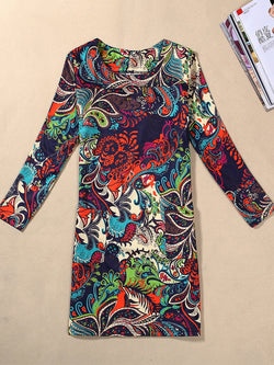 Printed Long Sleeve Crew Neck Plus Size Dress