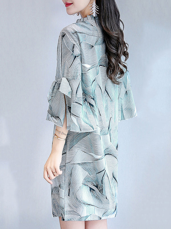 Blue Ruffled Shift Elegant Abstract Printed Dress