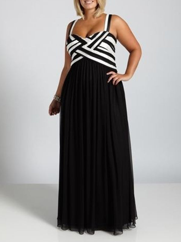 Elegant Spaghetti Paneled Striped Plus Size Dress