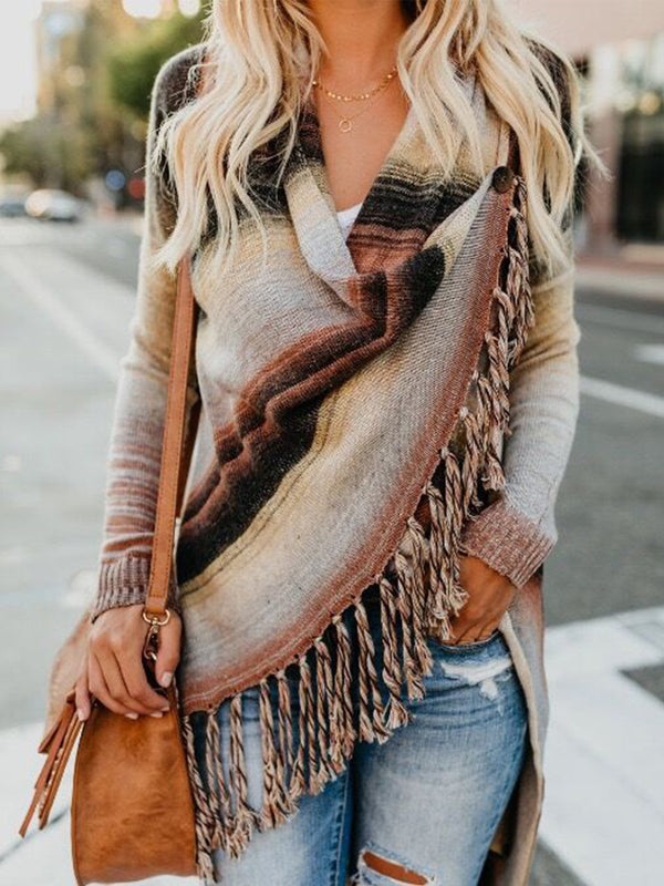 Knitted  Jumper Sweater Cardigan Ladies Fringe Shawl Tops Coat