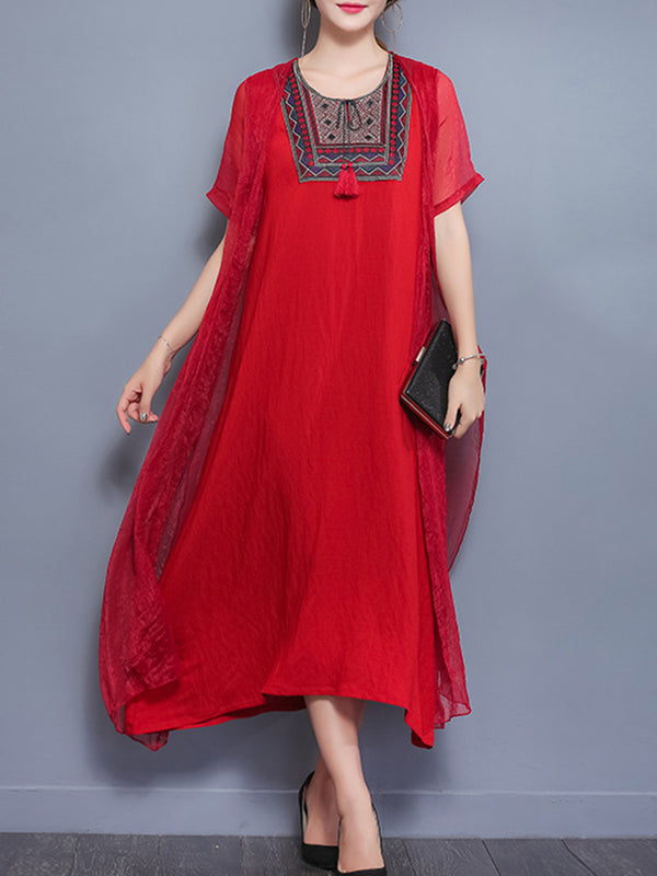 Embroidered Half Sleeve Vintage Crew Neck Dress