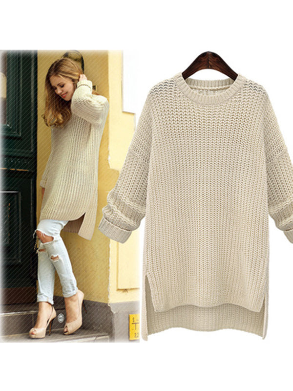 Slit Crew Neck Shift Casual  Knitted Sweater