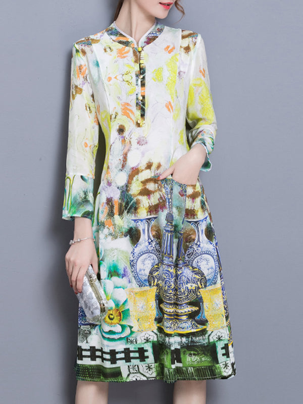 Shift Casual Buttoned 3/4 Sleeve Midi Printed Dress