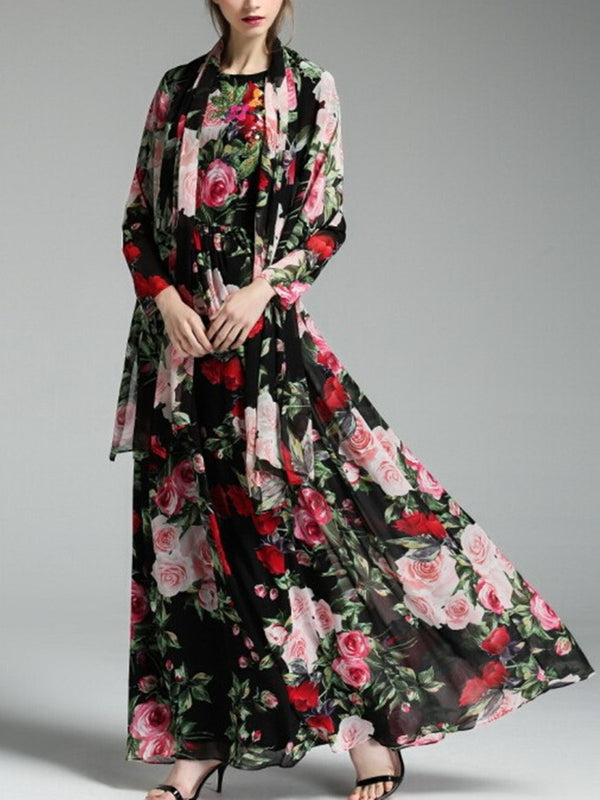 Crew Neck Floral Printed Long Sleeve Swing Maxi Dress