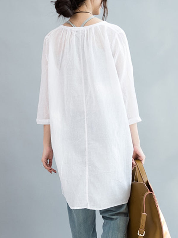 3/4 Sleeve Two Piece Casual V Neck Solid Linen Blouse