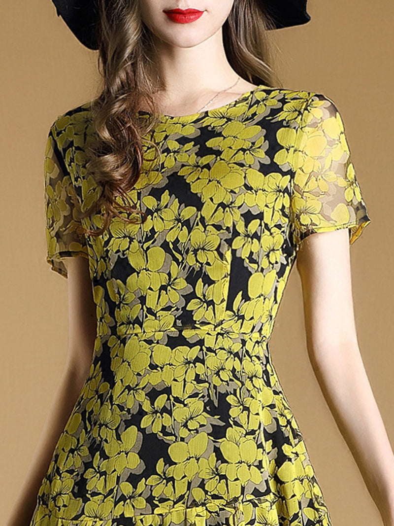 Floral Printed Crew Neck Casual Short Sleeve  Dress